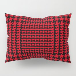 Red and Black Houndstooth Plaid Pillow Sham