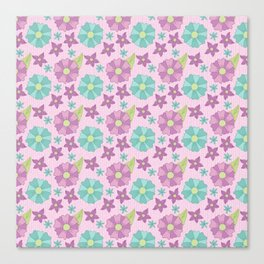 Spring teal and purple flowers with green leaves on a pink background Canvas Print