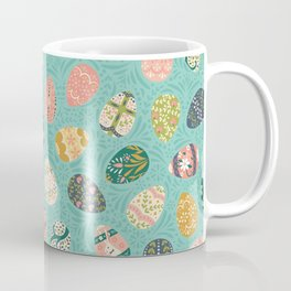 Floral Easter Eggs - Aqua Coffee Mug