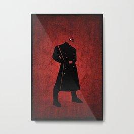 Superheroes minimalist - Red Mask Skull Metal Print