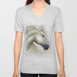 White Horse Watercolor Painting Animal Horses Unisex V-Neck