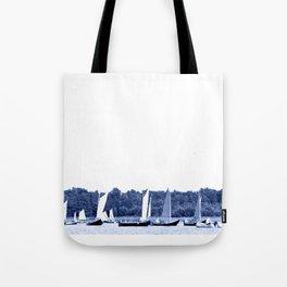 Dutch sailing boats in Delft Blue colors Tote Bag