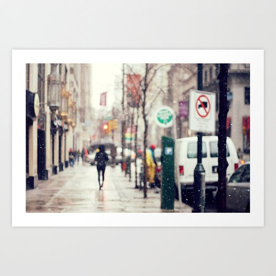 Snowing in the City Art Print