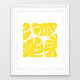 Mellow Yellow Monstera Leaves White Background #decor #society6 #buyart Framed Art Print