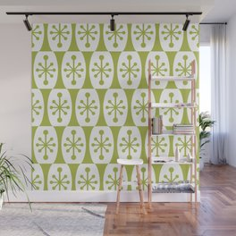 Mid Century Modern Atomic Fusion Pattern Chartreuse Wall Mural