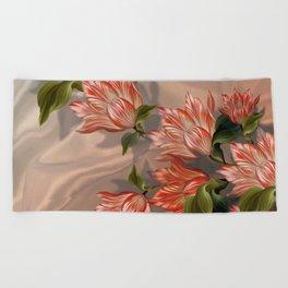 """Coral flowers on white silk"" (Air Spring) Beach Towel"