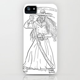 Ankou Graveyard Watcher With Scythe Drawing Black and White iPhone Case