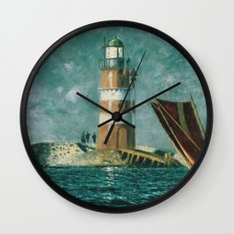 Vintage Painting of a Coastal Lighthouse (1895) Wall Clock