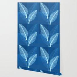 Blueprint Leaves Wallpaper