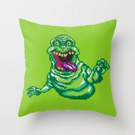Ghostbusters Slimer Pixel Art Throw Pillow