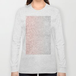 Blush Pink Sparkles on White and Gray Marble Long Sleeve T-shirt