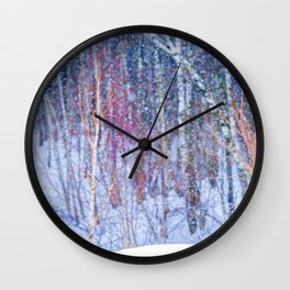 Winter Forest In Pastel Colors Wall Clock