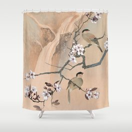 Cherry Tree And Two Birds Shower Curtain
