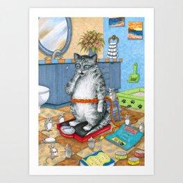Overweight cat Art Print