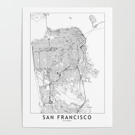 San Francisco White Map Poster