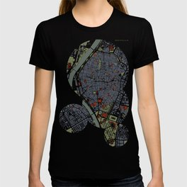 Seville city map engraving T-shirt