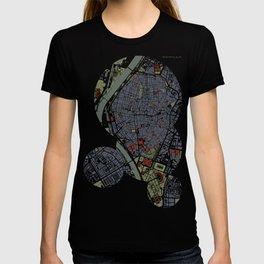 Seville city map engraving T-shirt