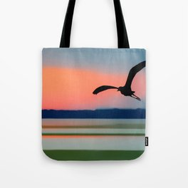 Seagull Sunset Abstract Tote Bag