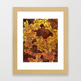 Japanese Stencil Pattern #1 | Floral Watercolor Design in Brown & Yellow Gold Framed Art Print