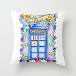 Doctor Who TARDIS Allons-y! Throw Pillow