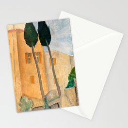 """Amedeo Modigliani """"Cypresses and Houses at Cagnes (Cyprès et maisons à Cagnes)"""" Stationery Cards"""