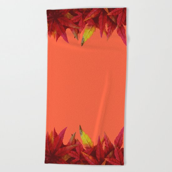 Autumn leaves (light red background) Beach Towel