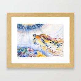 Going Up Sea Turtle Framed Art Print