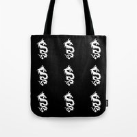 mythology Tote Bags featuring Chinese Mythology Dragon - Black White by Strawberry and Hearts