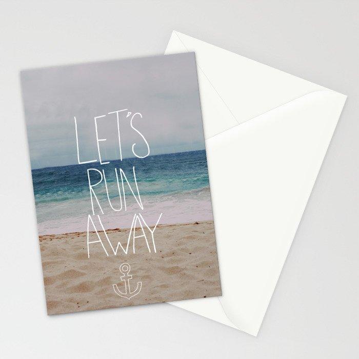 Let's Run Away | Sandy Beach, Hawaii Stationery Cards