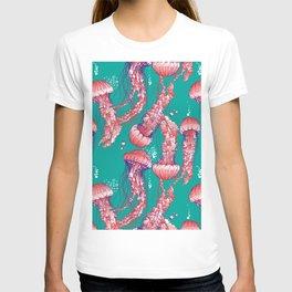 Red jellyfish pattern T-shirt