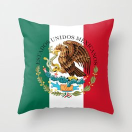 Mexican flag augmented scale with Coat of Arms Throw Pillow