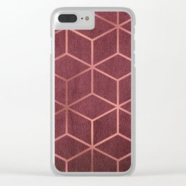 Pink and Rose Gold - Geometric Textured Gradient Cube Design Clear iPhone Case