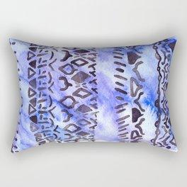 Tribal Pattern on Blue & Purple Watercolor Rectangular Pillow