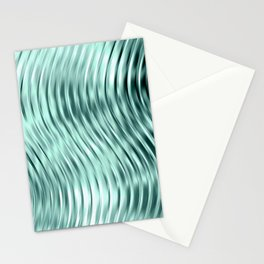 Modern Abstract Shiny Waves Glass Optical Illusion,Reflective Light, Ocean Teal Stationery Cards