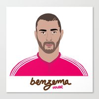 real madrid Canvas Prints featuring KARIM BENZEMA - REAL MADRID by THE CHAMPION'S LEAGUE'S CHAMPIONS