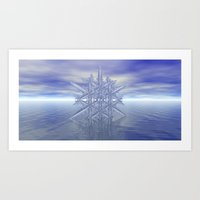 Fractal Snowflake - Sky and Sea Art Print