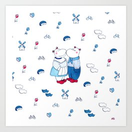 Adorable Dutch hippos in Delft blue style Art Print