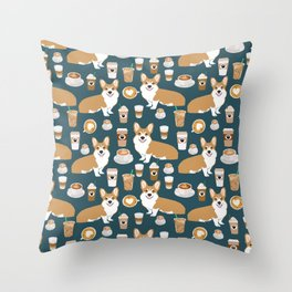 Corgi Coffee print corgi coffee pillow corgi iphone case corgi dog design corgi pattern Throw Pillow