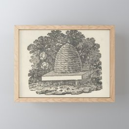 Beehive Woodcut Framed Mini Art Print
