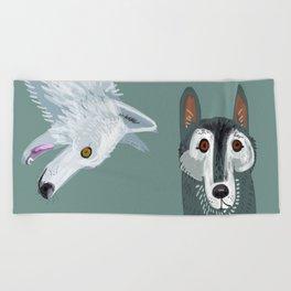 Totem Canadian wolf 2 Beach Towel