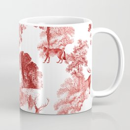 Classial Red Toile Forest Fabric Pattern Coffee Mug