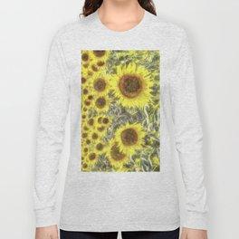 Sunflower Fields Of Summer Watercolour Long Sleeve T-shirt