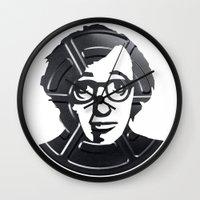 woody allen Wall Clocks featuring Woody Allen by Alejandro de Antonio Fernández