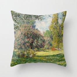 The Parc Monceau by Claude Monet Throw Pillow