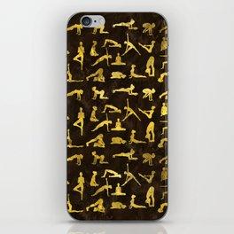 Gold Yoga Asanas / Poses pattern iPhone Skin