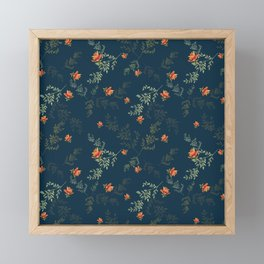 The floral style pattern on a blue background . Framed Mini Art Print