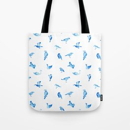 Blue Birds Pattern Tote Bag