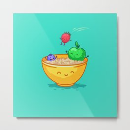 Fruit and oatmeal (Best friends. Character set.) Metal Print