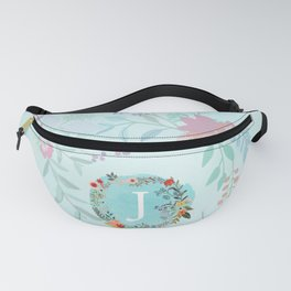 Personalized Monogram Initial Letter J Blue Watercolor Flower Wreath Artwork Fanny Pack