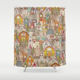 vintage gingerbread town Shower Curtain